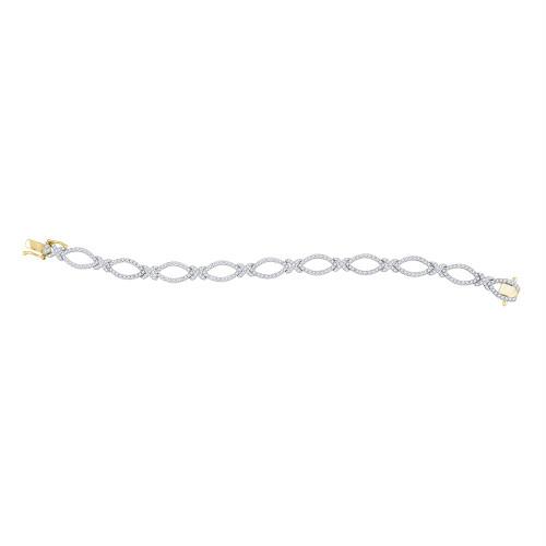 14kt Yellow Gold Womens Round Diamond Tennis Link Bracelet 2-1/3 Cttw