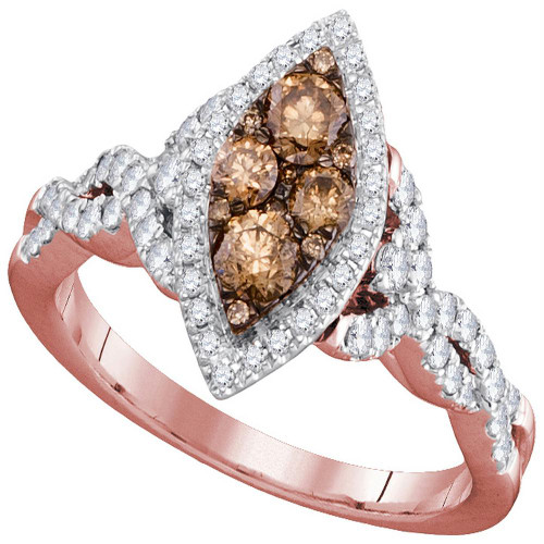 14kt Rose Gold Womens Round Brown Diamond Oval Cluster Twist Bridal Wedding Engagement Ring 7/8 Cttw