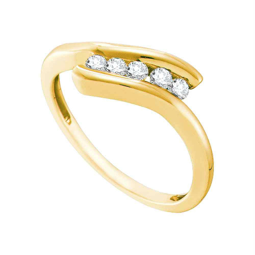 10kt Yellow Gold Womens Round Diamond 5-stone Promise Bridal Ring 1/5 Cttw
