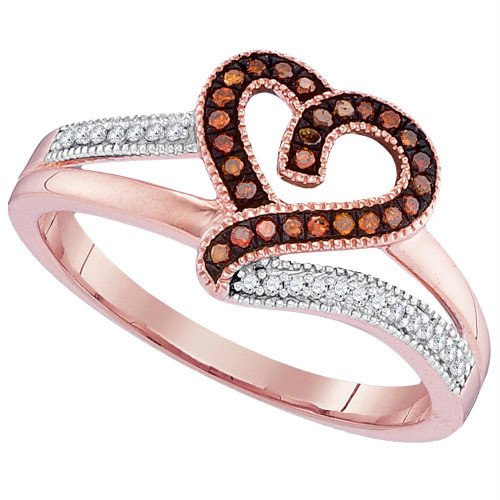 10kt Rose Gold Womens Round Red Color Enhanced Diamond Heart Love Ring 1/8 Cttw