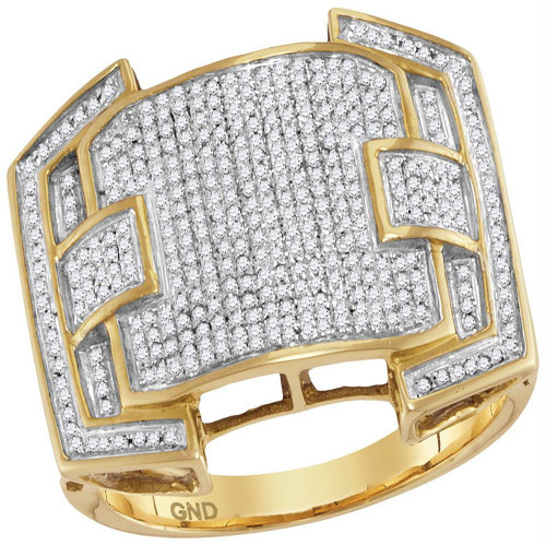 10kt Yellow Gold Mens Round Diamond Arched Square Cluster Ring 5/8 Cttw