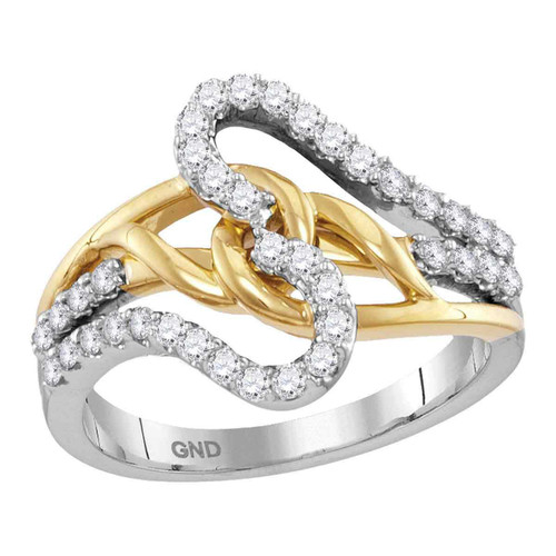 10kt Two-tone White Yellow Gold Womens Round Diamond Loop Lasso Band Ring 1/2 Cttw