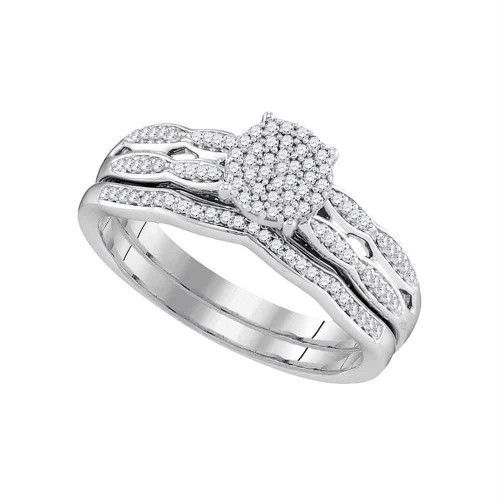 10kt White Gold Womens Round Diamond Cluster Bridal Wedding Engagement Ring Band Set 1/4 Cttw - 97775-8