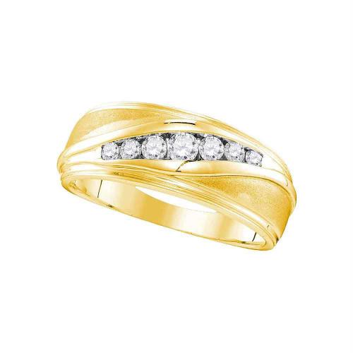 10kt Yellow Gold Mens Round Diamond Wedding Band Ring 3/8 Cttw - 107446-8.5