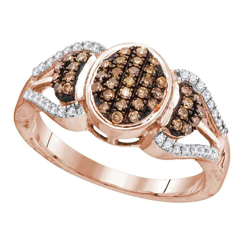 10kt Rose Gold Womens Round Cognac-brown Color Enhanced Diamond Oval Cluster Ring 1/3 Cttw