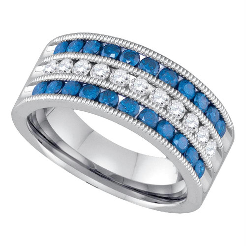 10kt White Gold Womens Round Blue Color Enhanced Diamond Milgrain Striped Band Ring 1.00 Cttw