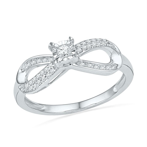 10kt White Gold Womens Round Diamond Infinity Promise Bridal Ring 1/5 Cttw