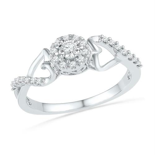 10kt White Gold Womens Round Diamond Cluster Heart Promise Bridal Ring 1/6 Cttw