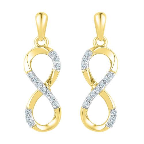 10k Yellow Gold Womens Round Diamond Infinity Dangle Screwback Earrings 1/10 Cttw