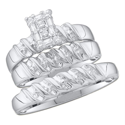 10kt White Gold His & Hers Round Diamond Cluster Matching Bridal Wedding Ring Band Set 1/10 Cttw - 16343-10