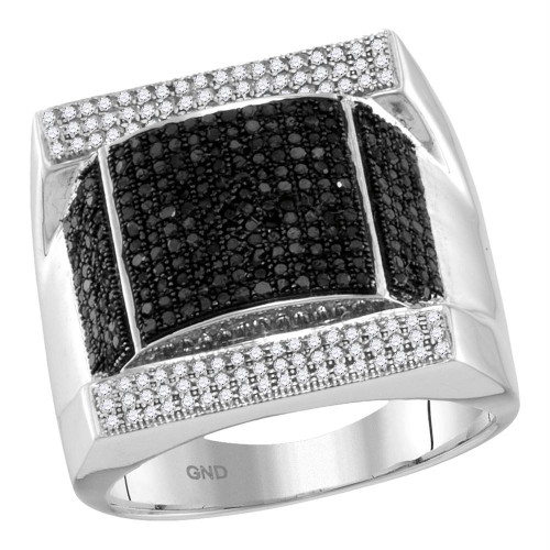 10kt White Gold Mens Round Black Color Enhanced Diamond Domed Rectangle Cluster Ring 1-1/12 Cttw
