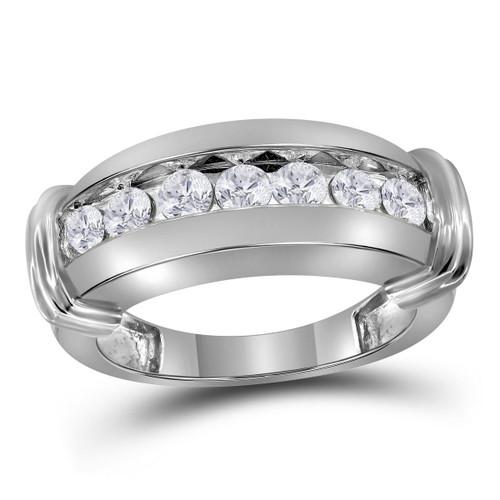 14kt White Gold Mens Round Diamond Single Row Wedding Band Ring 1.00 Cttw