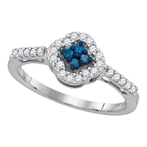 10kt White Gold Womens Round Blue Color Enhanced Diamond Diagonal Square Cluster Ring 1/3 Cttw