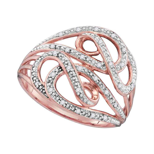 10k Rose Gold Womens Round Diamond Woven Strand Band Ring 1/10 Cttw