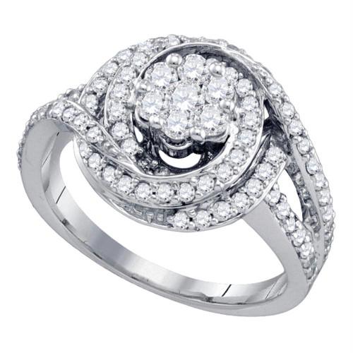 10kt White Gold Womens Round Diamond Flower Cluster Bridal Wedding Engagement Ring 1.00 Cttw - 71578-9