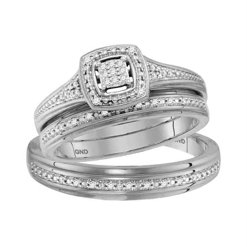 10kt White Gold His & Hers Round Diamond Cluster Matching Bridal Wedding Ring Band Set 1/10 Cttw - 117754-5.5