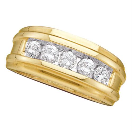 14kt Yellow Gold Mens Round Diamond Single Row Ridged Wedding Band Ring 1.00 Cttw
