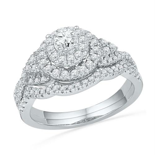 10kt White Gold Womens Round Diamond Double Halo Bridal Wedding Engagement Ring Band Set 3/4 Cttw