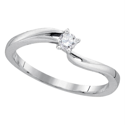 10kt White Gold Womens Round Diamond Solitaire Promise Bridal Ring 1/10 Cttw - 90906-10