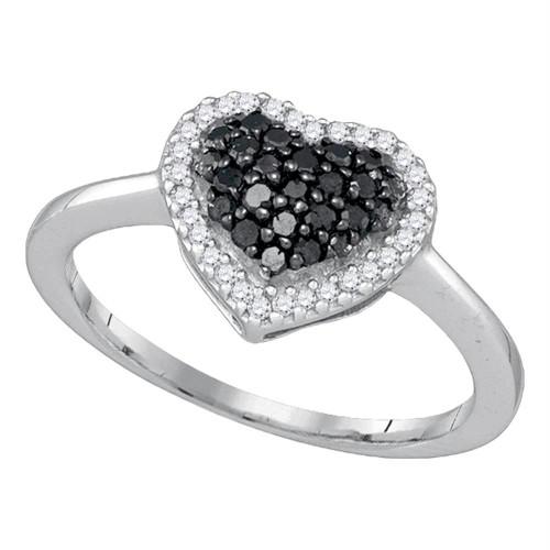10k White Gold Black Color Enhanced Round Diamond Cluster Womens Love Heart Ring 1/3 Cttw