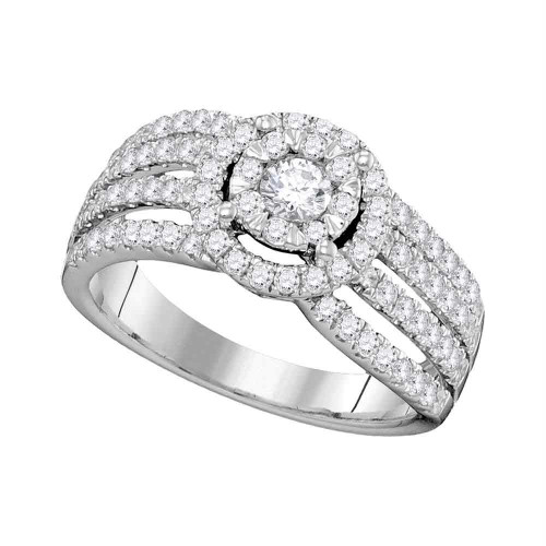 14kt White Gold Womens Round Diamond Solitaire Halo Strand Bridal Wedding Engagement Ring 1.00 Cttw