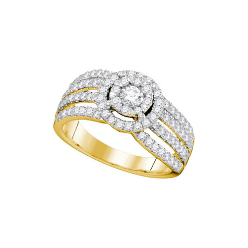 14kt Yellow Gold Womens Round Diamond Solitaire Halo Strand Bridal Wedding Engagement Ring 1.00 Cttw