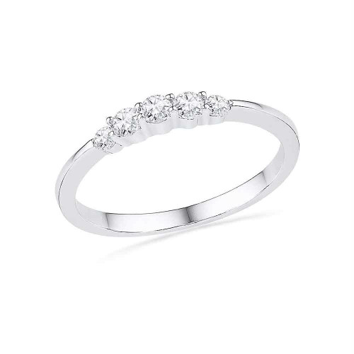 10kt White Gold Womens Round Diamond 5-stone Bridal Wedding Engagement Ring 1/4 Cttw