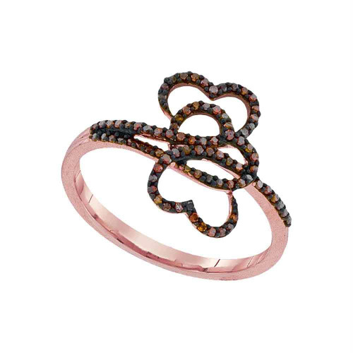 10kt Rose Gold Womens Round Red Color Enhanced Diamond Heart Love Ring 1/5 Cttw