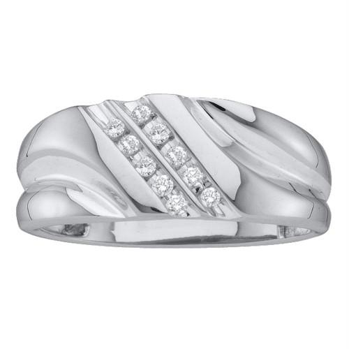 10kt White Gold Mens Round Diamond 2-row Wedding Anniversary Band Ring 1/8 Cttw