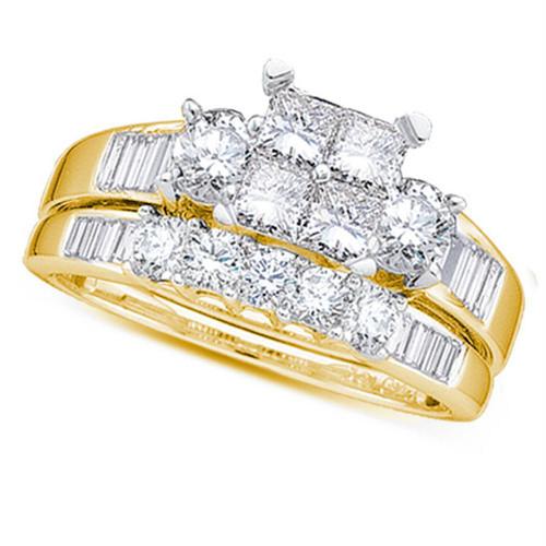 10kt Yellow Gold Womens Princess Diamond Bridal Wedding Engagement Ring Band Set 1/2 Cttw - Size 7