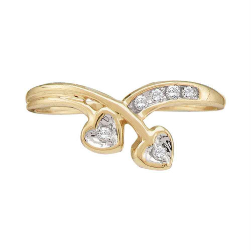 10kt Yellow Gold Womens Round Diamond Double Heart Simple Band Ring 1/20 Cttw