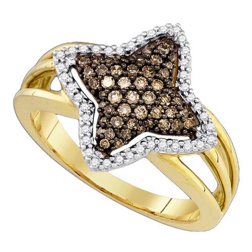 10k Yellow Gold Cognac-brown Color Enhanced Diamond Womens Star-shape Fancy Cluster Ring 3/8 Cttw