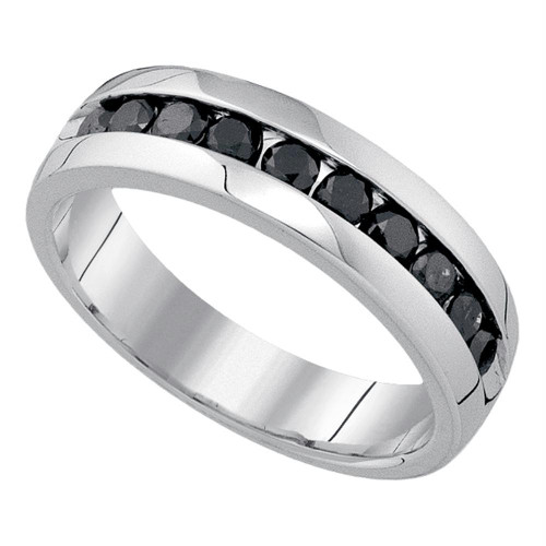 10kt White Gold Mens Round Black Color Enhanced Diamond Fashion Band 1.00 Cttw