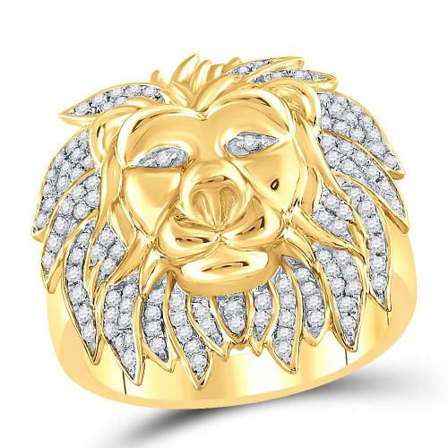 10kt Yellow Gold Mens Round Diamond Lion Mane Cluster Ring 5/8 Cttw