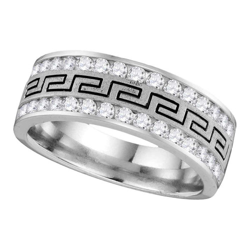 14k White Gold Mens Round Diamond Grecco Wedding Anniversary Band 1/2 Cttw - 113028-8
