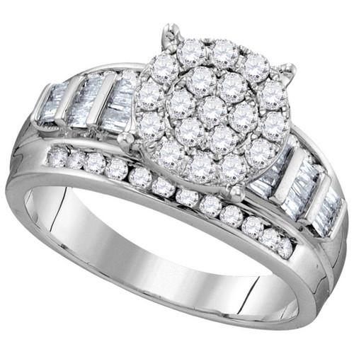 10kt White Gold Womens Round Diamond Cindys Dream Cluster Bridal Wedding Engagement Ring 1.00 Cttw
