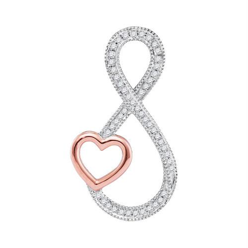 10kt White Gold Womens Round Diamond Infinity Rose-tone Heart Pendant 1/6 Cttw