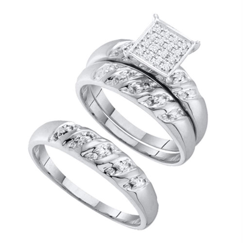 10kt White Gold His & Hers Round Diamond Cluster Matching Bridal Wedding Ring Band Set 1/12 Cttw - 42283-10.5