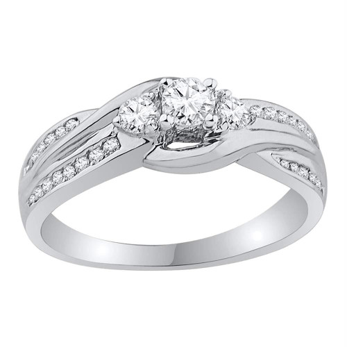 10k White Gold Womens Round 3-stone Diamond Bridal Wedding Engagement Ring 1/2 Cttw