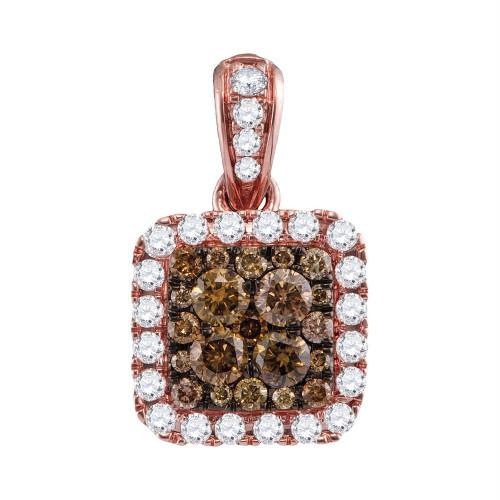 14kt Rose Gold Womens Round Cognac-brown Color Enhanced Diamond Square Pendant 1.00 Cttw