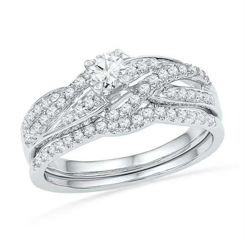 10kt White Gold Womens Round Diamond Bridal Wedding Engagement Ring Band Set 1/2 Cttw - 101590-10.5