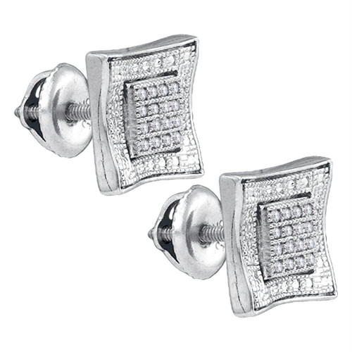 Sterling Silver Mens Round Diamond Square Kite Cluster Stud Earrings 1/10 Cttw