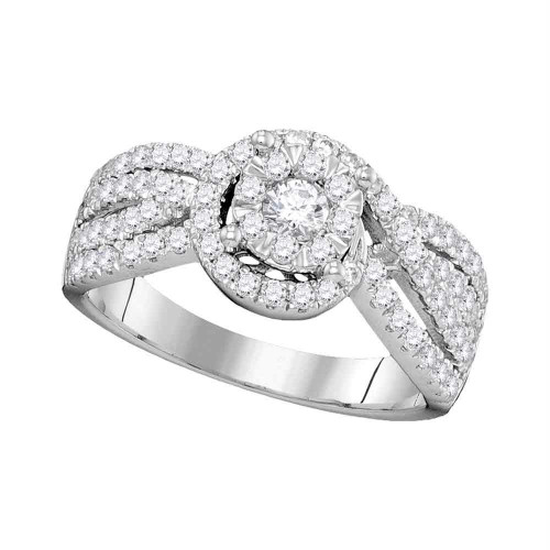 14kt White Gold Womens Round Diamond Solitaire Bridal Wedding Engagement Ring 1.00 Cttw - 104742-6