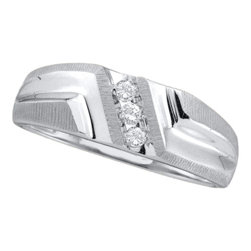 10kt White Gold Mens Round Diamond Wedding Band Ring 1/10 Cttw - 20380-8.5