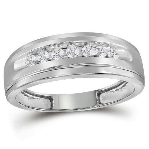 10kt White Gold Mens Round Diamond Wedding Band Ring 1/4 Cttw - 112805-8.5