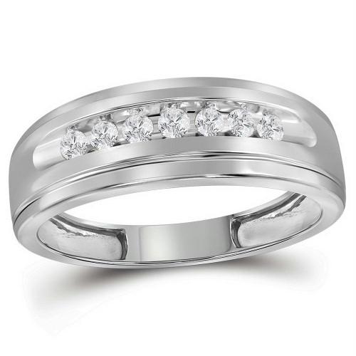 10kt White Gold Mens Round Diamond Wedding Band Ring 1/4 Cttw - 112805-8.5