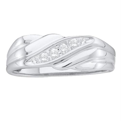 10kt White Gold Mens Round Diamond Diagonal Single Row Wedding Band Ring 1/8 Cttw