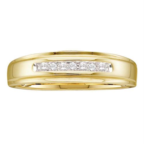 10kt Yellow Gold Mens Round Diamond Wedding Anniversary Band Ring 1/12 Cttw