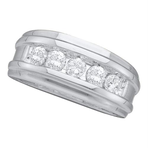 14k White Gold Round Channel-set Diamond Mens Masculine Wedding Band 1/2 Cttw