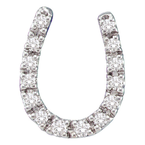 14kt White Gold Womens Round Diamond Horseshoe Pendant 1/10 Cttw